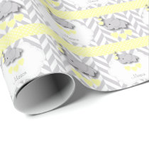 Yellow, White Gray Elephant Baby Shower Wrapping Paper