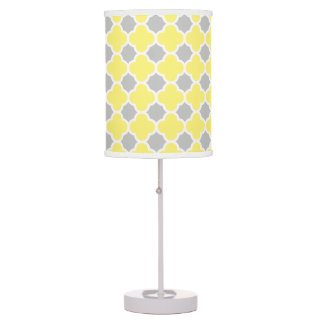 Yellow White Gray Quatrefoil Pattern Desk Lamp