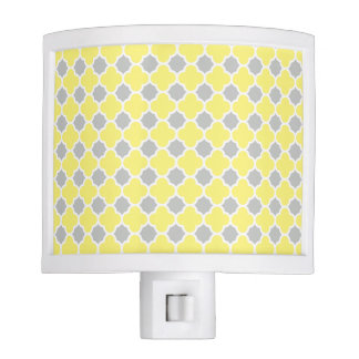 Yellow White Gray Quatrefoil Pattern Night Light