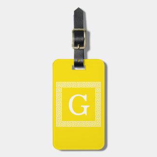 Yellow White Greek Key Frame #1 Initial Monogram Luggage Tag