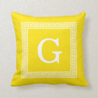 Yellow White Greek Key Frame #1 Initial Monogram Throw Pillow