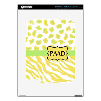 Yellow White & Green Zebra & Cheetah Personallzed iPad 3 Skins