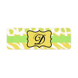 Yellow White & Green Zebra & Cheetah Personallzed Label
