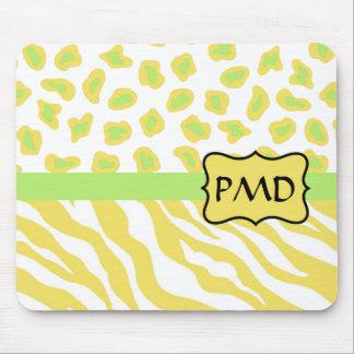 Yellow White & Green Zebra & Cheetah Personallzed Mouse Pad