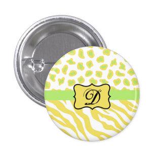 Yellow White & Green Zebra & Cheetah Personallzed Pinback Button