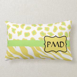 Yellow White & Green Zebra & Cheetah Personallzed Throw Pillow