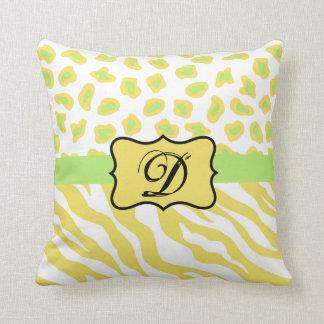 Yellow White & Green Zebra & Cheetah Personallzed Throw Pillows