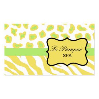Yellow, White & Green Zebra & Cheetah Skin Custom Business Card