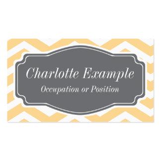 Yellow White Grey Chevron Personal Business Card