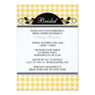 Yellow White Houndstooth Bridal Shower Invitations