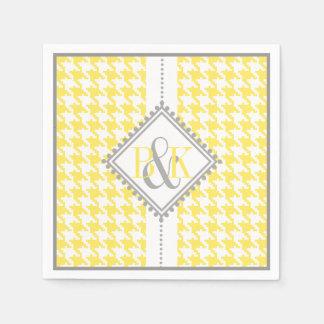 Yellow, white houndstooth pattern wedding paper napkin