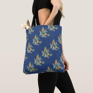 yellow white Hungarian floral motifs Tote Bag