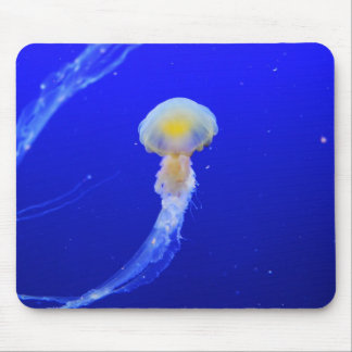 Yellow-white jellyfish in blue ocean mouse pad