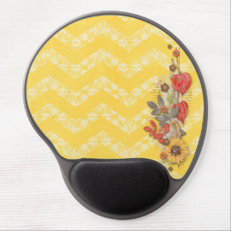 Yellow White Lace Chevrons Flowers Gel Mousepads
