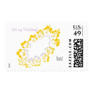 Yellow white lei wedding Postage