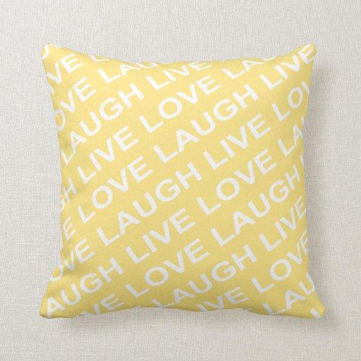 Yellow White Love Pattern Pillow