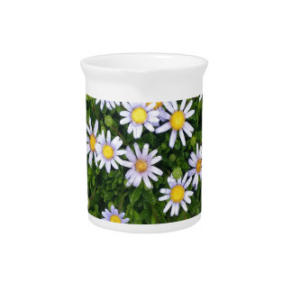 Yellow White Margarita Flowers with Grey Pebbles Drink Pitcher