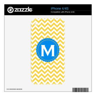 Yellow White Monogram Chevron Pattern iPhone 4S Decal