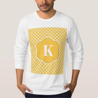 Yellow White Monogram Polka Dot Pattern T-shirt
