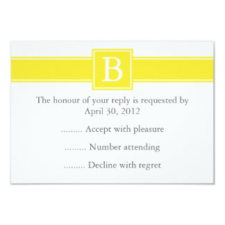 Yellow & White Monogrammed Reply or RSVP Card