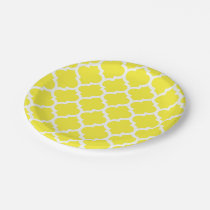 Yellow White Moroccan Quatrefoil Pattern #5 Paper Plate