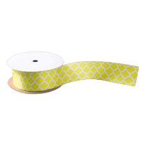 Yellow White Moroccan Quatrefoil Pattern #5 Satin Ribbon