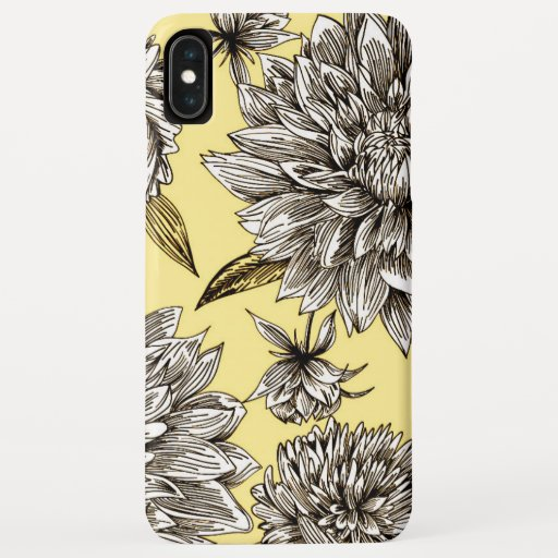 Yellow & White Mum Floral Illustration Pattern iPhone XS Max Case