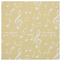 yellow white music notes pattern fabric
