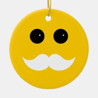 Yellow White Mustache Smiley Emoticon Ceramic Ornament