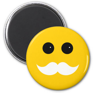 Yellow White Mustache Smiley Emoticon Magnet
