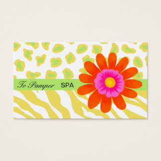 Yellow, White, Orange & Green Zebra & Cheetah Skin Business Card