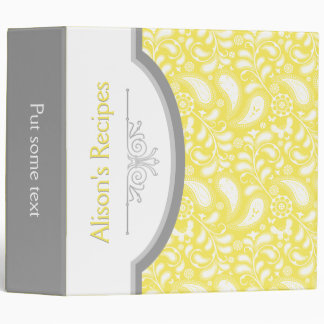 Yellow, white paisley with frame recipe vinyl binder