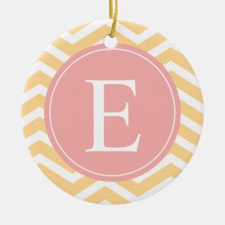 Yellow White Peach Chevron Monogram Ceramic Ornament