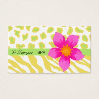 Yellow, White, Pink & Green Zebra & Cheetah Skin Business Card