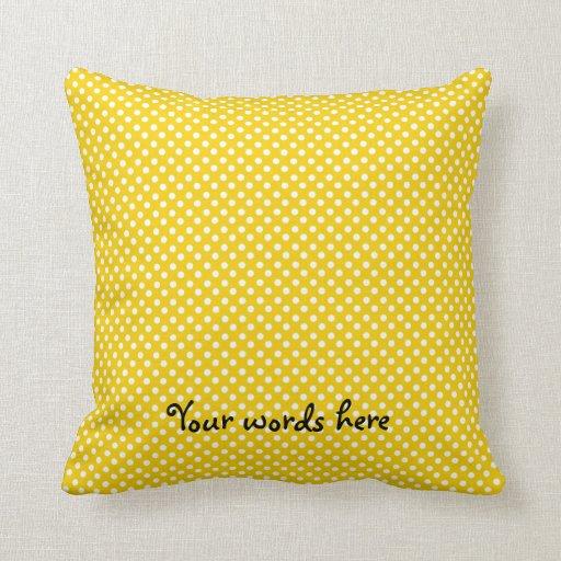Yellow white polka dot pattern throw pillow