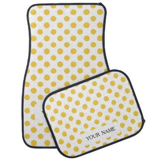 Yellow White Polka Dots Pattern Floor Mat