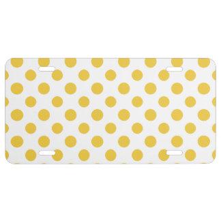 Yellow White Polka Dots Pattern License Plate