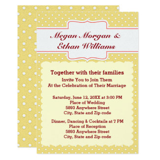 Yellow & White Polka Dots Wedding Invitation
