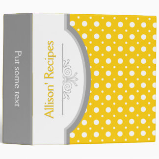 Yellow white polka dots with frame recipe 3 ring binder