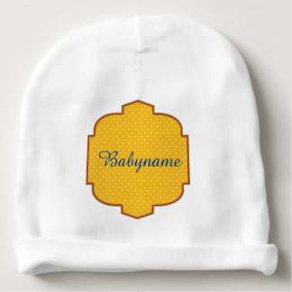 Yellow & White Polka Dotted Personalized Baby Beanie