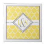 Yellow, white quatrefoil monogram wedding keepsake tile