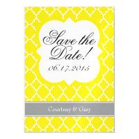 Yellow White Quatrefoil Save The Date Magnet Magnetic Invitations (<em>$3.35</em>)