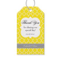 Yellow White Quatrefoil Wedding Thank You Tag