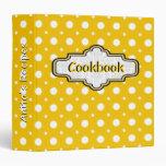 Yellow, white retro polka dot pattern cute recipe vinyl binders