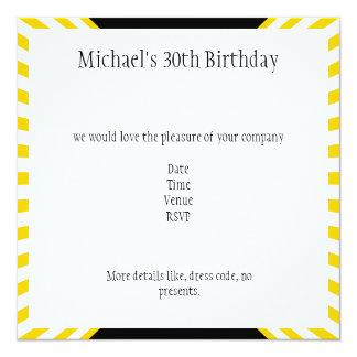 Yellow & White Retro Stripes with Black Birthday Card