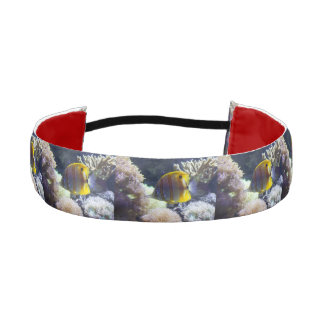 yellow & white Saltwater Copperband Butterflyfish Athletic Headband