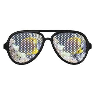 yellow & white Saltwater Copperband Butterflyfish Aviator Sunglasses