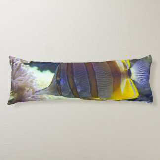 yellow & white Saltwater Copperband Butterflyfish Body Pillow