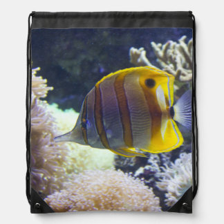 yellow & white Saltwater Copperband Butterflyfish Drawstring Backpack