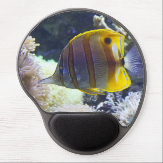 yellow & white Saltwater Copperband Butterflyfish Gel Mousepad